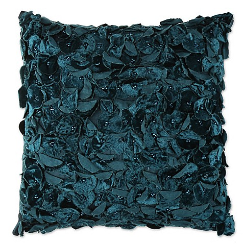 Thro 12-Inch Square Prabal Floral Design Sequin Velvet Throw Pillow in Teal - Bed Bath & Beyond