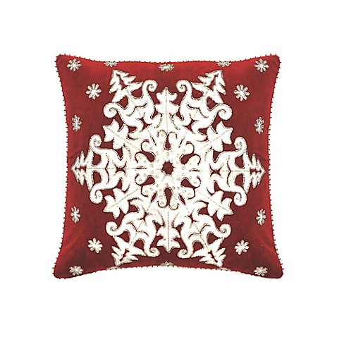 Velvet Snowflake 20-Inch Square Throw Pillow in Red - Bed Bath & Beyond