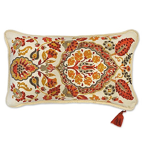 Red Throw Pillows For Bed : Ankara Embroidered Oblong Throw Pillow in Red - Bed Bath & Beyond