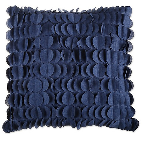 Domain Feather Filled Decorative Pillow : Soho 20-Inch Square Feather Fill Pleated Throw Pillow in Indigo - Bed Bath & Beyond