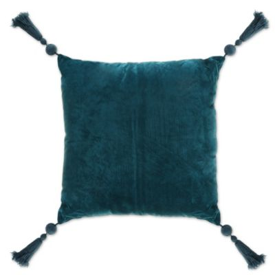 Thro 18 Inch Square Petunia Tassel Throw Pillow In Teal