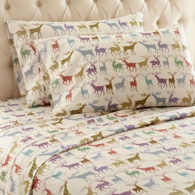 micro flannel colorful deer print california king sheet set in tan - Cal King Sheets