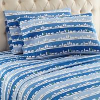 Micro Flannel® Printed Queen Sheet Set in Winter Village
