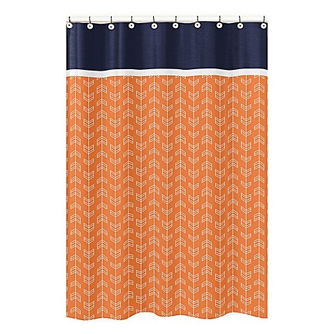 Buy sweet jojo designs arrow shower curtain in navy white for Sweet jojo designs bathroom