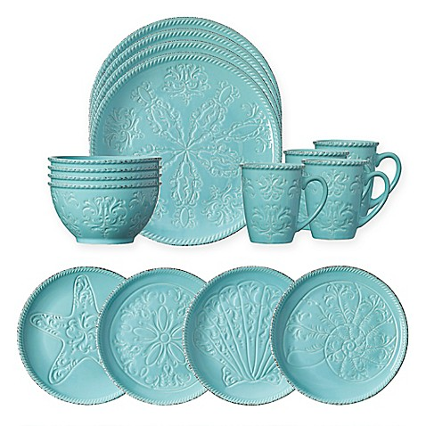 Pfaltzgraff 174 Malibu 16 Piece Dinnerware Set In Teal Bed