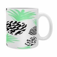 DENY Designs Rebecca Allen Classy Pineapples Ceramic Mugs in Green (Set of 2)