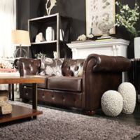 Verona Home Nottingham Chesterfield Loveseat in Brown