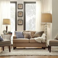Verona Home Olenick Linen Love Seat in Dark Sand