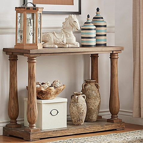 Cordelia Baluster Console Table In Vintage Pine