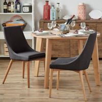 Verona Home Hudson Mid-Century Side Dining Chairs in Dark Grey (Set of 2)