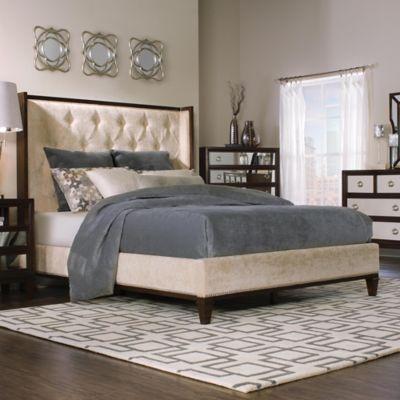 powell regent queen bed in walnut - Elevated Queen Bed Frame