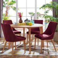 Verona Home Hudson Mid-Century 5-Piece Round Dining Set in Maroon