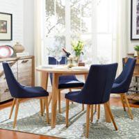 Verona Home Hudson Mid-Century 5-Piece Round Dining Set in Cobalt