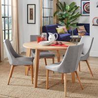 Verona Home Hudson Mid-Century 5-Piece Round Dining Set in Grey