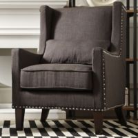 Verona Home Trenton Wingback Arm Chair in Dark Grey