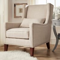 Verona Home Trenton Wingback Arm Chair in Beige