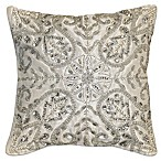 Emma Crystal Square Throw Pillow in White/Silver