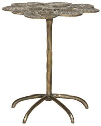 Alene Leaf Side Table in Brass