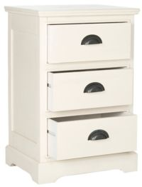 Griffin 3 Drawer Side Table in White