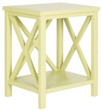 The Safavieh Candence Cross Back End Table in Pea Green