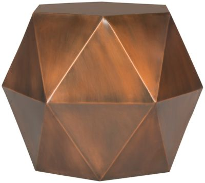 Astrid Faceted Side Table In Copper