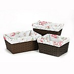 Sweet Jojo Designs Riley's Roses Basket Liner (Set of 3)
