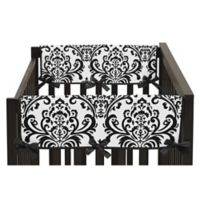 Sweet Jojo Designs Isabella Short Crib Rail Guard Covers in Pink/Black/White