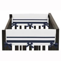 Sweet Jojo Designs Hotel Short Rail Guard Covers in White/Navy (Set of 2)