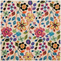 Safavieh Four Seasons Floral 6-Foot Square Indoor/Outdoor Area Rug in Ivory Multi