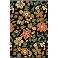 Safavieh Four Seasons Floral 5-Foot x 6-Foot Indoor/Outdoor Area Rug in Black Multi