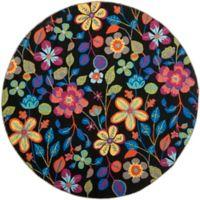 Safavieh Four Seasons Floral 4-Foot Round Indoor/Outdoor Area Rug in Black Multi