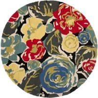 Safavieh Four Seasons Watercolor 5-Foot Round Indoor/Outdoor Area Rug in Black Multi