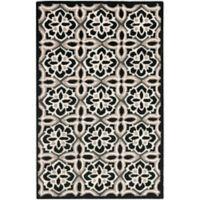 Safavieh Seasons Tangier Tile 2-Foot 6-Inch x 4-Foot Indoor/Outdoor Rug in Black/Ivory