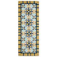 Safavieh Four Seasons Tile Border 2-Foot 3-Inch x 8-Foot Indoor/Outdoor Runner in Tan/Blue