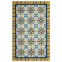 Safavieh Four Seasons Tile Border 3-Foot 6-Inch x 5-Foot 6-Inch Indoor/Outdoor Rug in Tan/Blue