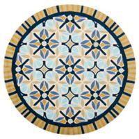 Safavieh Four Seasons Tile Border 6-Foot Round Indoor/Outdoor Area Rug in Tan/Blue