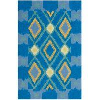 Safavieh Four Seasons Southwest 2-Foot 6-Inch x 4-Foot Indoor/Outdoor Accent Rug in Indigo/Yellow