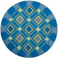 Safavieh Four Seasons Southwest 4-Foot Round Indoor/Outdoor Area Rug in Indigo/Yellow