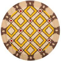 Safavieh Four Seasons Southwest 4-Foot Round Indoor/Outdoor Area Rug in Beige/Yellow