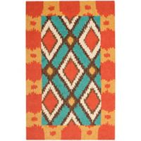 Safavieh Four Seasons Southwest 2-Foot 6-Inch x 4-Foot Indoor/Outdoor Accent Rug in Light Blue/Red