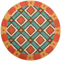 Safavieh Four Seasons Southwest 4-Foot Round Indoor/Outdoor Area Rug in Light Blue/Red