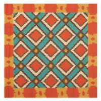 Safavieh Four Seasons Southwest 6-Foot Square Indoor/Outdoor Area Rug in Light Blue/Red