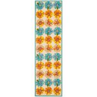 Safavieh Four Seasons Hibiscus 2-Foot 3-Inch x 6-Foot Indoor/Outdoor Runner in Ivory/Blue