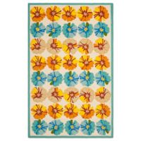 Safavieh Four Seasons Hibiscus 5-Foot x 8-Foot Indoor/Outdoor Area Rug in Ivory/Blue
