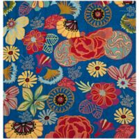 Safavieh Four Seasons Asian Floral 6-Foot Square Indoor/Outdoor Area Rug in Blue Red