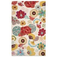 Safavieh Four Seasons Asian Floral 5-Foot x 8-Foot Indoor/Outdoor Area Rug in Ivory/Red
