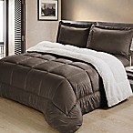 Sherpa Down Alternative 3-Piece King Comforter Set in Chocolate