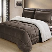 Sherpa Down Alternative 2-Piece Twin Comforter Set in Chocolate