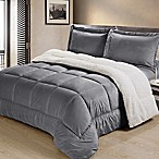 Sherpa Down Alternative 3-Piece Queen Comforter Set in Pewter