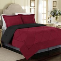 Solid 2-Piece Reversible Twin Comforter Set in Burgundy